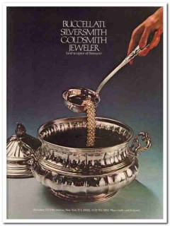 buccellati 1977 silversmith goldsmith jeweler flatware vintage ad