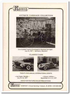 kruse company 1977 auction antique carriage classic cars vintage ad