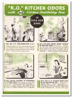 ILG Electric Ventilating Company 1940 Vintage Catalog Fan Kitchen Odor