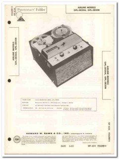 airline models gpl-3820a gpl-3820b tape recorder sams photofact manual