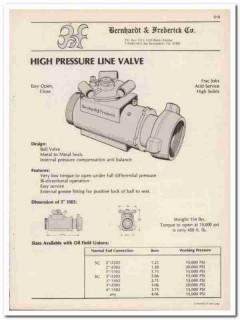 Bernhardt Frederick Company 1983 Vintage Catalog High Pressure Valve