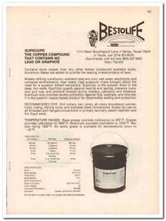 Bestolife Corp 1983 Vintage Catalog Oilfield Oil Pipe Thread Compound