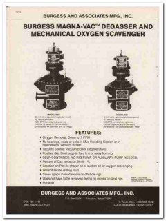 Burgess Associates Mfg Inc 1983 Vintage Catalog Oil Magna-Vac Degasser