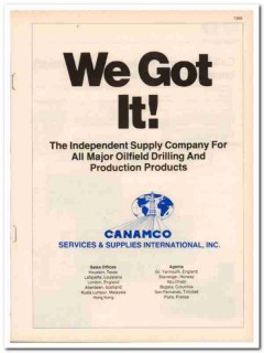Canamco Services Supplies International Inc 1983 Vintage Catalog Oil