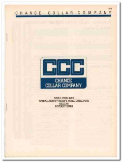 Chance Collar Company 1983 Vintage Catalog Oil Drill Pipe Kellys Gas