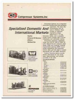 Compressor Systems Inc 1983 Vintage Catalog Pipeline Offshore Wellhead