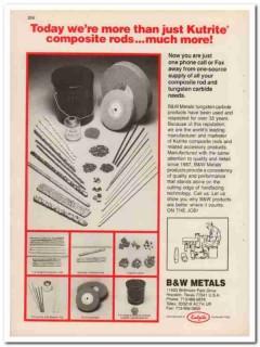 B W Metals Company 1994 Vintage Catalog Oilfield Kutrite Composite Rod