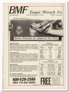 BMF Torque Wrench Company 1993 Vintage Catalog Tool Hydraulic Powered
