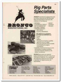 Bronco Mfg Inc 1993 Vintage Catalog Oil Drilling Rig Parts Specialists