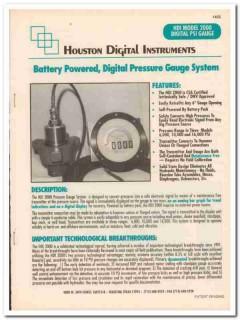 Houston Digital Instruments Inc 1993 Vintage Catalog Pressure Gauge