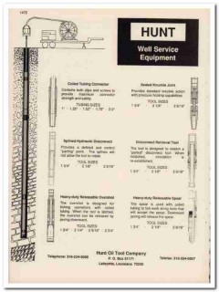 Hunt Oil Tool Company 1993 Vintage Catalog Well Service Equipment