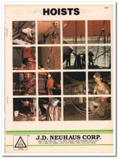 J D Neuhaus Corp 1993 Vintage Catalog Oil Hoists Monorails Trolley