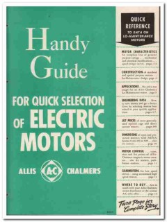 Allis-Chalmers 1945 vintage electrical catalog motor handy guide