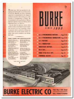 Burke Electric Company 1945 vintage catalog motors generators