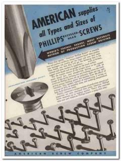 American Screw Company 1945 vintage industrial catalog recessed head