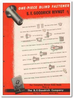 B F Goodrich Company 1945 vintage industrial catalog blind fasteners