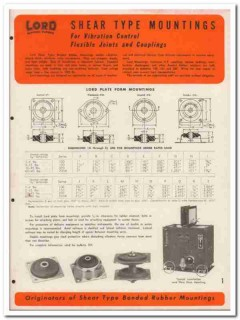 Lord Mfg Company 1945 vintage industrial catalog rubber mountings