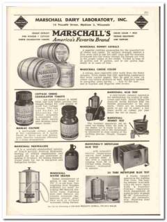 Marschall Dairy Laboratory Inc 1956 vintage dairy catalog extract
