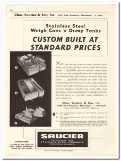 Chas Saucier Son Inc 1956 vintage dairy catalog stainless products