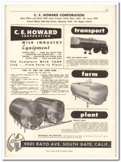 C E Howard Corp 1956 vintage dairy catalog milk industry equipment