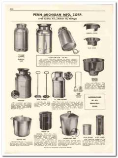 Penn-Michigan Mfg Corp 1956 vintage dairy catalog dispenser cans