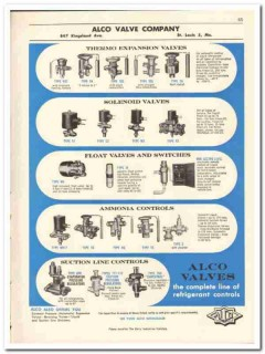 Alco Valve Company 1956 vintage dairy catalog refrigerant controls