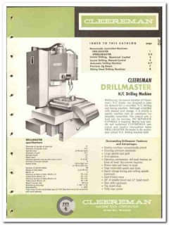 Cleereman Machine Tool Corp 1965 vintage industrial catalog drilling