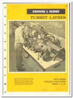 Bardons Oliver Inc  1965 vintage industrial catalog turret lathes