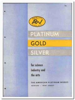 American Platinum Works 1946 vintage metal catalog gold silver science