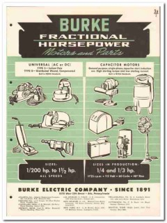 Burke Electric Company 1946 vintage catalog motors fractional