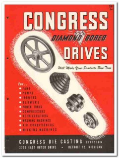 Congress Drives Inc 1946 vintage industrial catalog die casting fans