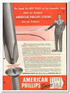 American Screw Company 1946 vintage hardware catalog Phillips machine