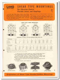 Lord Mfg Company 1946 vintage rubber catalog vibration control joints
