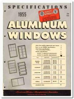 Aluminum Window Mfrs Association 1955 vintage catalog Specifications