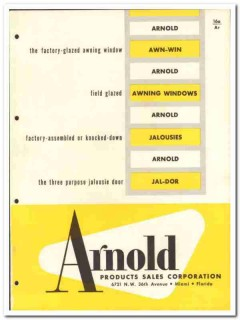 Arnold Products Sales Corp 1955 vintage window catalog aluminum awning