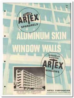 Artex Corp 1955 vintage window catalog aluminum Spandrels Therm-Artex