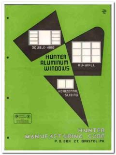 Hunter Mfg Corp 1955 vintage window catalog aluminum vu-wall sliding