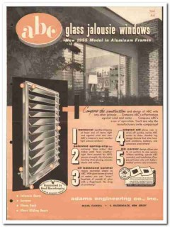 Adams Engineering Company 1955 vintage window catalog glass jalousie