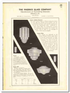 Phoenix Glass Company 1935 vintage catalog illuminating glassware
