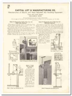 Capital Lift Mfg Company 1935 vintage elevator catalog ash handling