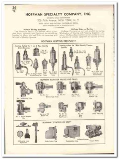 Hoffman Specialty Company 1935 vintage heating catalog steam valves