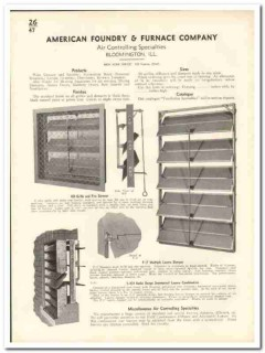 American Foundry Furnace Company 1935 vintage heating catalog grilles