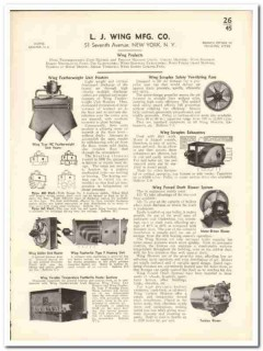 L J Wing Mfg Company 1935 vintage heating catalog ventilating exhaust
