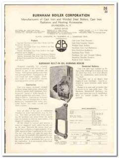 Burnham Boiler Corp 1935 vintage heating catalog oil burning radiators