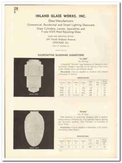 Inland Glass Works Inc 1935 vintage catalog illuminating glassware