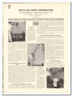 Potts Ash Hoist Corp 1935 vintage elevator catalog lift electric hand