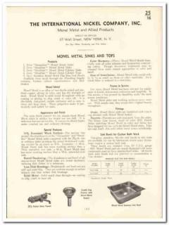 International Nickel Company 1935 vintage plumbing catalog metal sinks