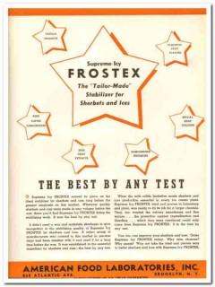 American Food Laboratories Inc 1943 vintage ad ice cream Frostex best