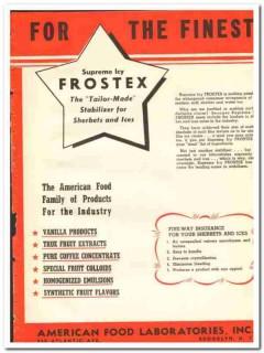 American Food Laboratories Inc 1943 vintage ad ice cream Frostex fine