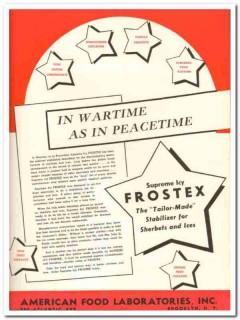 American Food Laboratories Inc 1943 vintage ad ice cream Frostex war